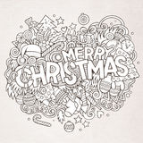 Merry Christmas hand lettering and doodles Royalty Free Stock Photography