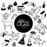 Merry Christmas hand lettering. Festive attributes in Doodle style. Merry Christmas hand lettering. Festive attributes in Doodle style Stock Images