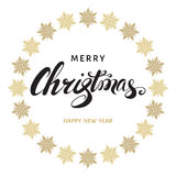 Merry Christmas hand lettering with golden  snowflakes. Merry Christmas hand lettering with golden  snowflakes on white  background. Happy New Year vector Royalty Free Stock Image