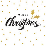 Merry Christmas hand lettering with golden twig of holly. Merry Christmas hand lettering with golden twig of holly with berry and leaves. Vector greeting  card Royalty Free Stock Photography