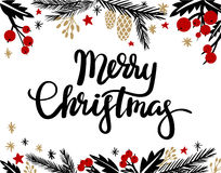 Merry Christmas Hand Lettering. Greeting Card stock illustration