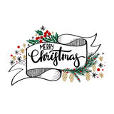 Merry Christmas Hand Lettering Greeting Card Royalty Free Stock Photo