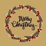 Merry Christmas hand lettering greeting card. Happy New Year hand lettering greeting card. Modern calligraphy. Christmas Wreath. Vector Illustration vector illustration