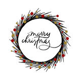 Merry Christmas hand lettering greeting card. Happy New Year hand lettering greeting card. Modern calligraphy. Christmas Wreath. Vector Illustration stock illustration