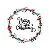 Merry Christmas hand lettering greeting card. Happy New Year hand lettering greeting card. Modern calligraphy. Christmas Wreath. Vector Illustration royalty free illustration