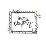 Merry Christmas Hand Lettering Greeting Card. Modern Calligraphy. Merry Christmas Hand Lettering Greeting Card. Vector Illustration. Modern Calligraphy. The vector illustration