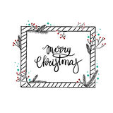 Merry Christmas Hand Lettering Greeting Card. Modern Calligraphy. Merry Christmas Hand Lettering Greeting Card. Vector Illustration. Modern Calligraphy. The stock illustration
