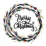 Merry Christmas hand lettering greeting card. Modern calligraphy. Christmas Wreath. Vector Illustration stock illustration