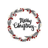 Merry Christmas hand lettering greeting card. Modern calligraphy. Christmas Wreath. Vector Illustration vector illustration