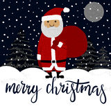 Merry Christmas Hand Lettering. Merry Christmas Greeting Card with Santa Claus vector illustration