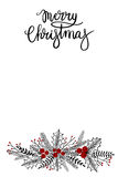 Merry Christmas Hand Lettering Greeting Card. Vector Illustration. Modern Calligraphy royalty free illustration