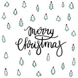 Merry Christmas Hand Lettering Greeting Card. Vector Illustration. Modern Calligraphy vector illustration