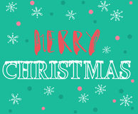 Merry Christmas hand lettering. Handmade calligraphy on green snowflakes background. Christmas style font. Vector Stock Photos