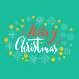 Merry Christmas hand lettering. Handmade calligraphy on green snowflakes background. Christmas style font. Vector Stock Images