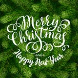 Merry Christmas hand lettering inscription on fir branches background. Hand drawing calligraphy phrases on detailed Christmas tree branches background for Stock Image