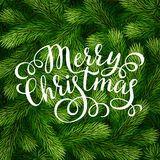 Merry Christmas hand lettering inscription on fir branches background. Hand drawing calligraphy phrases on detailed Christmas tree branches background for Royalty Free Stock Images
