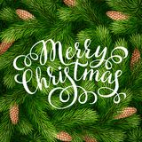 Merry Christmas hand lettering inscription on fir branches background. Hand drawing calligraphy phrases on detailed Christmas tree branches background for Royalty Free Stock Photography