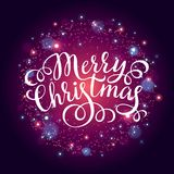 Merry Christmas hand lettering inscription on firework background. Hand drawing calligraphy phrases for greeting card, poster, banner, website, header Stock Photography