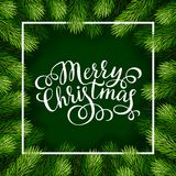 Merry Christmas hand lettering inscription with frame of fir branches Stock Photography