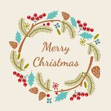 Merry Christmas hand lettering inscription. Printable postcard for winter holidays. Vector illustration for greeting. Merry Christmas greeting card with curly Royalty Free Stock Photos
