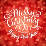 Merry Christmas hand lettering inscription on red bokeh light background. Hand drawing calligraphy phrases for greeting card, poster, banner, website, header Royalty Free Stock Image