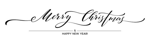 Merry Christmas hand lettering isolated. Vector illustration vector illustration