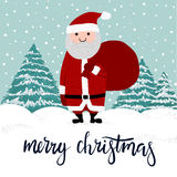 Merry Christmas Hand Lettering Postcard. Merry Christmas Greeting Card with Santa Claus vector illustration