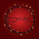 Merry Christmas Hand Lettering Postcard. Modern Calligraphy stock illustration