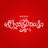 Merry Christmas hand lettering on red background. Christmas  greeting  card. Hand lettering on red  background Stock Images