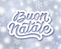 Merry Christmas hand lettering text in italian Stock Photography