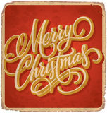MERRY CHRISTMAS hand lettering vintage card (vector) Stock Images