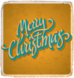 MERRY CHRISTMAS hand lettering vintage card (vector) Stock Photos