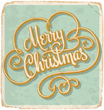 MERRY CHRISTMAS hand lettering vintage card (vector) Royalty Free Stock Photos