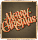 MERRY CHRISTMAS hand lettering vintage card (vector) Stock Photography