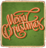 MERRY CHRISTMAS hand lettering vintage card (vector) Royalty Free Stock Image