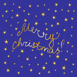 Merry Christmas! Hand-Written Golden Letters and Stars on Blue Background. Christmas Card. Perfect for Your Festive Design. Vector Illustration Stock Images