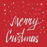Merry Christmas hand written lettering royalty free illustration