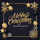 Merry Christmas 2018 hand written lettering with golden decoration ornament. Frame with snowflakes, stars and balls. Trendy design. Premium luxury Christmas Royalty Free Stock Photos