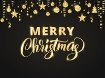 Merry Christmas hand written lettering. Golden glitter border, garland with hanging balls and ribbons. Royalty Free Stock Image