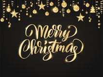 Merry Christmas hand written lettering. Golden glitter border, garland with hanging balls and ribbons. Royalty Free Stock Photography