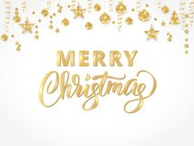 Merry Christmas hand written lettering. Golden glitter border, garland with hanging balls and ribbons. Stock Photo