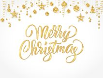 Merry Christmas hand written lettering. Golden glitter border, garland   Royalty Free Stock Photo