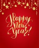 Merry Christmas hand written lettering. Golden glitter border,  Royalty Free Stock Image