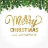 Merry Christmas hand written lettering. Winter holiday background. Fiesta border with fir tree branches and ornaments. Great for Christmas and New year cards Royalty Free Stock Photo