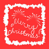 Merry Christmas! Hand-Written Letters and Firework in White Frame on Red Background. Christmas Card. Royalty Free Stock Photography