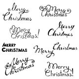 Merry christmas. Hand-written text. Vector illustration for your design. Christmas template Stock Photo