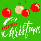 Merry Christmas handdrawn Calligraphic And Typographic lettering. Handwritten modern dry brush inscription. Grunge. Holiday card Royalty Free Stock Photo