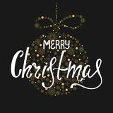 Hand written lettering in ball shape. Merry Christmas. Handdrawn inscription for greeting card or invitation. Hand written lettering in ball shape. Holiday Royalty Free Stock Images