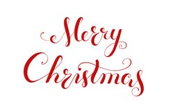 Merry Christmas handwriting lettering. Royalty Free Stock Photo
