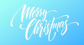 Merry Christmas handwriting script lettering on a bright colored background. Vector illustration. EPS10 royalty free illustration